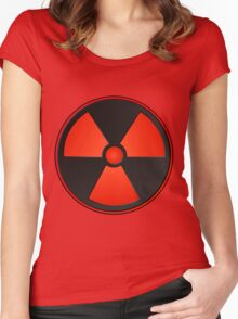 Red Radioactive Symbol Science Women's Fitted Scoop T-Shirt