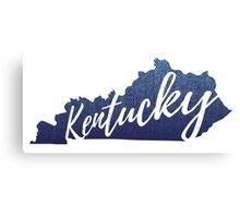 Kentucky Denim Map Canvas Print