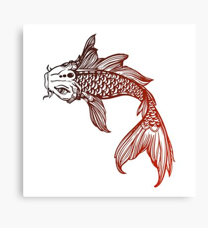 Red Coy Fish Sticker  Canvas Print