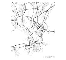 Helsinki Map, Finland - Black and White Photographic Print