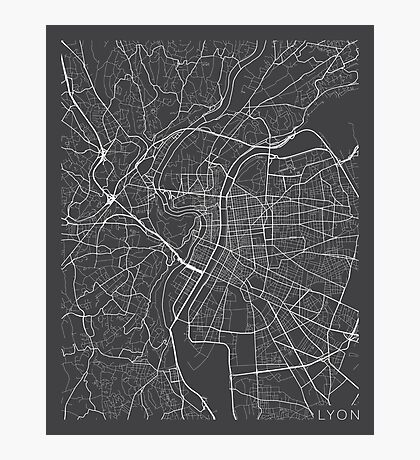 Lyon Map, France - Gray Photographic Print