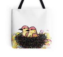 Two chicks in a nest Tote Bag