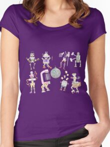 Heretofore's Robot Dance Party pattern copy right 2016 Women's Fitted Scoop T-Shirt