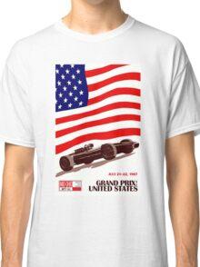"""UNITED STATES"" Vintage Grand Prix Auto Race Print Classic T-Shirt"