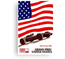 """UNITED STATES"" Vintage Grand Prix Auto Race Print Canvas Print"
