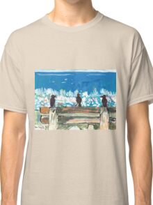 Three Birds Talking on a Bench by the Sea, Colombo Classic T-Shirt
