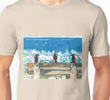 Three Birds Talking on a Bench by the Sea, Colombo Unisex T-Shirt