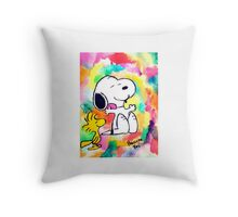 Colorful and Trippy Snoopy and Woodstock :)  Throw Pillow