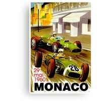 """MONACO"" Vintage Grand Prix Auto Racing Print Canvas Print"