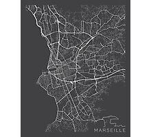 Marseille Map, France - Gray Photographic Print