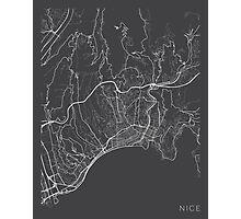 Nice Map, France - Gray Photographic Print