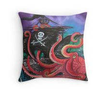 A Pirates Tale - Attack Of The Mutant Octopus Throw Pillow