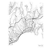Nice Map, France - Black and White Photographic Print