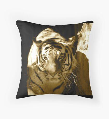 Amur Tiger in Sepia Throw Pillow