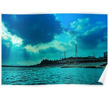 Beautiful Water Landscape with City and Sky Poster