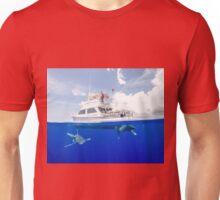Oceanic White Tips Sharks Cruising Under A Boat Unisex T-Shirt