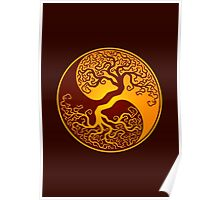 Red and Yellow Tree of Life Yin Yang Poster