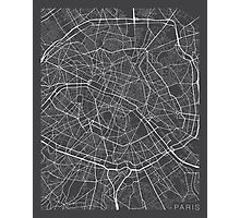 Paris Map, France - Gray Photographic Print