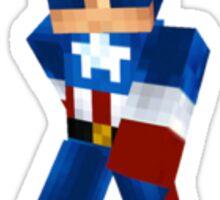 Captain America Minecraft Style Sticker