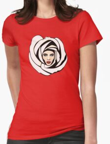 White Lunar Rose Womens Fitted T-Shirt