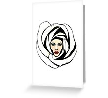 White Lunar Rose Greeting Card