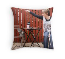 Cat and owner playing Throw Pillow