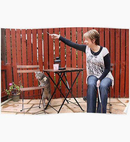 Cat and owner playing Poster