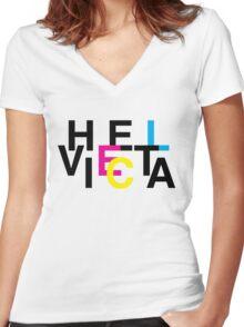 Helvetica & CMYK Women's Fitted V-Neck T-Shirt