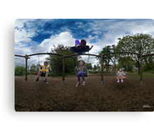 3  Kids on a Swing Canvas Print