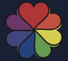 Rainbow Heart Flower One Piece - Long Sleeve