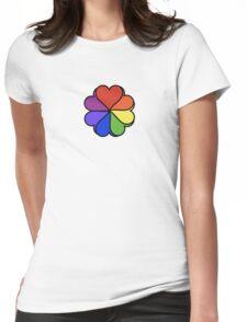 Rainbow Heart Flower Womens Fitted T-Shirt