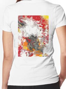 Fiery Flow - Acrylic Painting Art Women's Fitted V-Neck T-Shirt