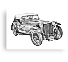 Mg Tc Antique Car Illustration Canvas Print