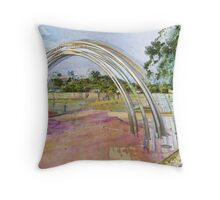 Arch in a Landscape Painting with Digital impression  Throw Pillow