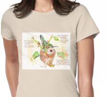 Phoebe, the Allen's Hummingbird - Botanical Womens Fitted T-Shirt