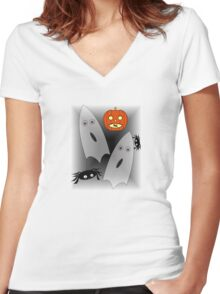 Pumpkins, Ghosts and spiders oh my! BG Women's Fitted V-Neck T-Shirt