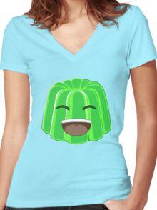 Green Jelly Youtuber vlog Women's Fitted V-Neck T-Shirt