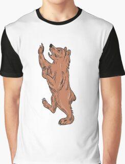 American Black Bear Prancing Drawing Graphic T-Shirt