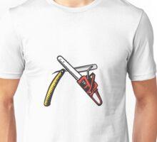 Chainsaw Straight Razor Crossed Woodcut Unisex T-Shirt