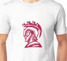Spartan Warrior Helmet Woodcut Unisex T-Shirt