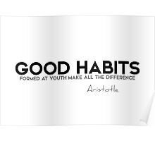 good habits formed at youth make all the difference - aristotle Poster