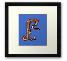 Medieval Squirrel Letter F Framed Print