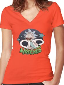 Rick And Morty Wrecked Women's Fitted V-Neck T-Shirt