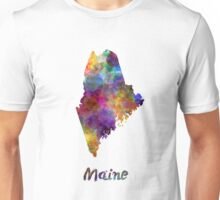 Maine US state in watercolor Unisex T-Shirt