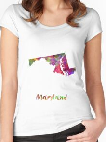 Maryland US state in watercolor Women's Fitted Scoop T-Shirt