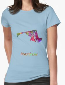 Maryland US state in watercolor Womens Fitted T-Shirt