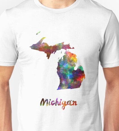 Michigan US state in watercolor Unisex T-Shirt