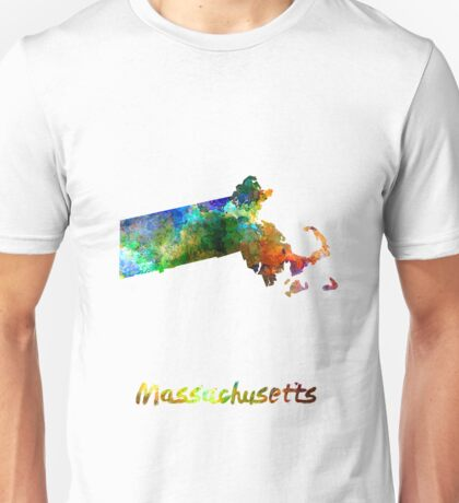 Massachusetts US state in watercolor Unisex T-Shirt