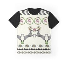 Floral Watercolor Deer Pattern Graphic T-Shirt