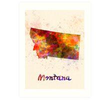Montana US state in watercolor Art Print